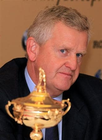 CARDIFF, WALES - SEPTEMBER 27:  Europe team captain Colin Montgomerie talks to the media after the USA team arrives at Cardiff Airport prior to the start of the 2010 Ryder Cup on September 27, 2010 in Cardiff, Wales.(Photo by David Cannon/Getty Images).  (Photo by David Cannon/Getty Images)