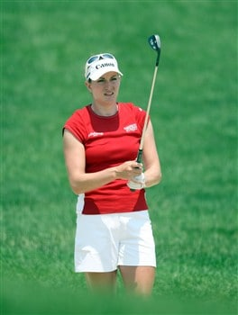 HAVRE DE GRACE, MD - JUNE 07:  Brittany Lang of the USA prepares to hit her second shot at the 1st hole during the third round of the 2008 McDonald's LPGA Championship held at Bulle Rock Golf Course, on June 7, 2008 in Havre de Grace, Maryland.  (Photo by David Cannon/Getty Images)