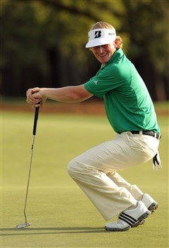AUGUSTA, GA - APRIL 10:  Brandt Snedeker reacts to a missed putt on the 18th hole during the first round of the 2008 Masters Tournament at Augusta National Golf Club on April 10, 2008 in Augusta, Georgia.  (Photo by Harry How/Getty Images)
