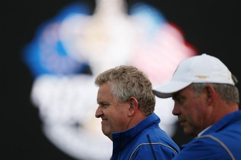 NEWPORT, WALES - OCTOBER 01:  Europe Team Captain Colin Montgomerie looks on with Vice Captain Darren Clarke (R) during the Morning Fourball Matches during the 2010 Ryder Cup at the Celtic Manor Resort on October 1, 2010 in Newport, Wales.  (Photo by Ross Kinnaird/Getty Images)