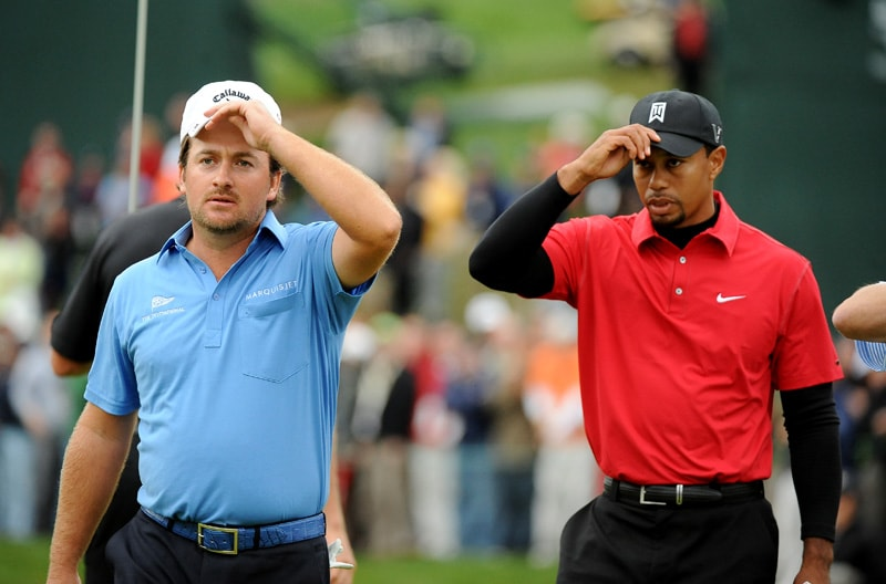Graeme McDowell and Tiger Woods at the 2010 Chevron World Challenge