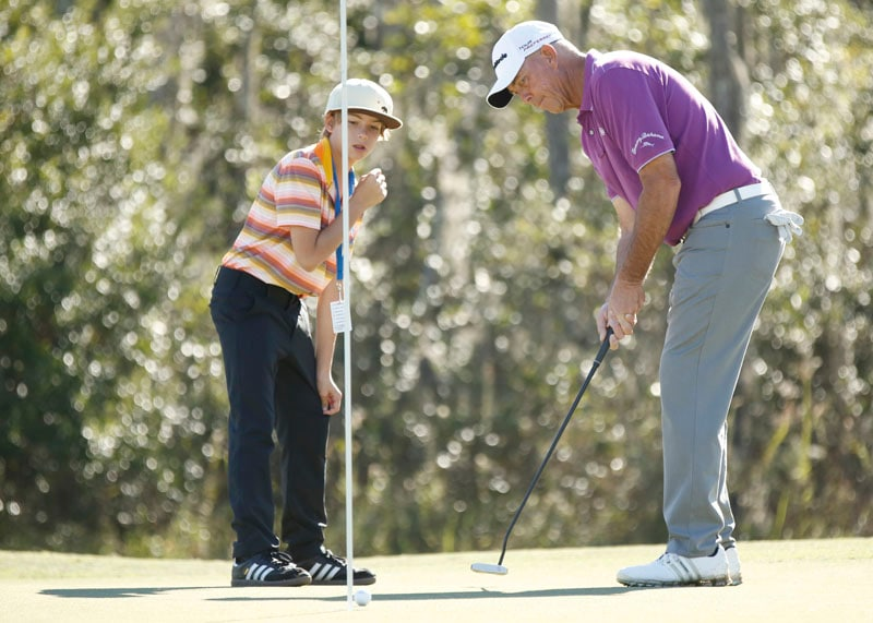 Tom Lehman and his son