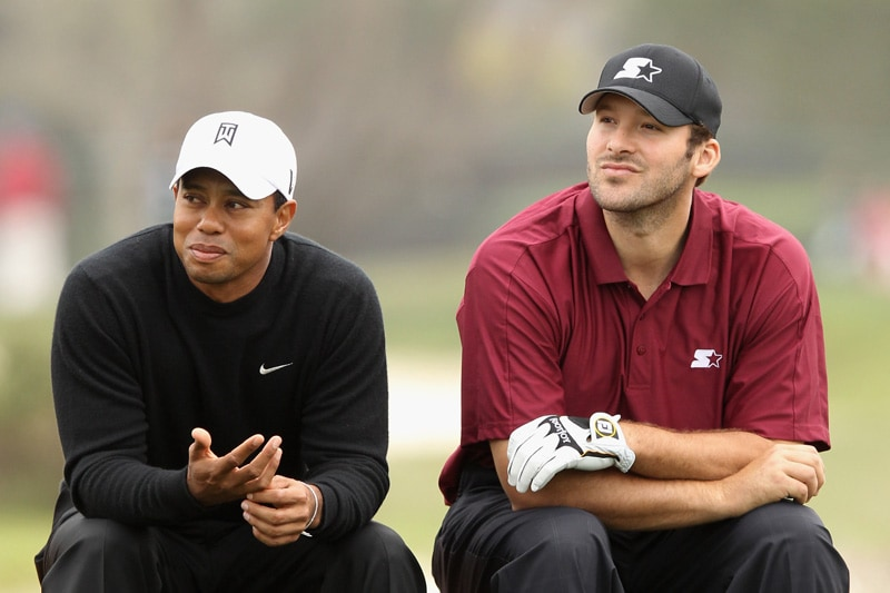 Tiger Woods and Tony Romo