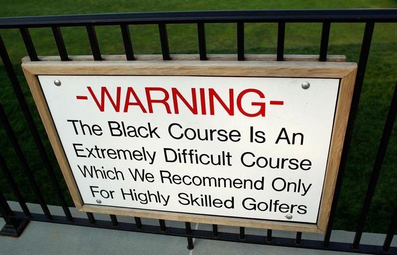 Warning sign at Bethpage Black