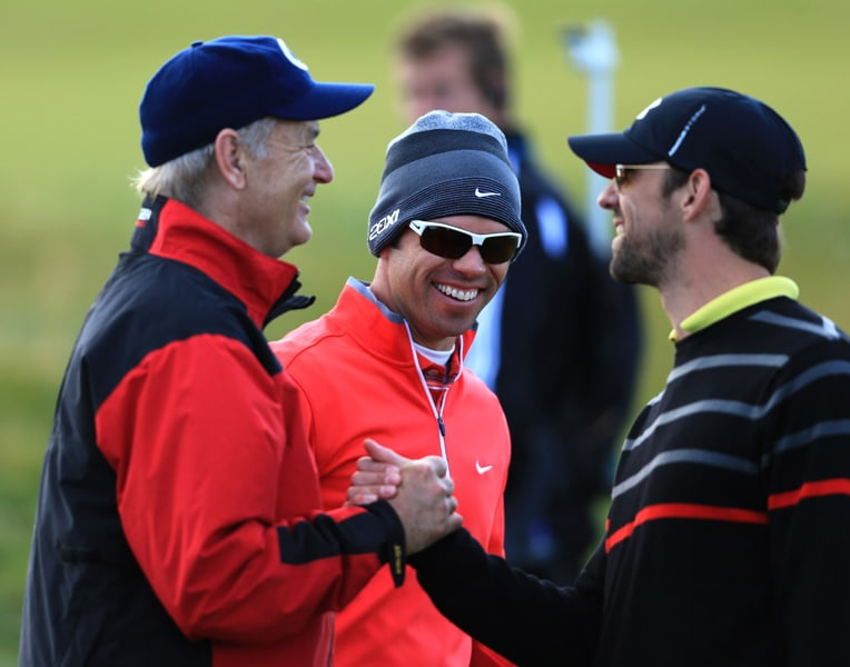 Bill Murray, Paul Casey and Michael Phelps