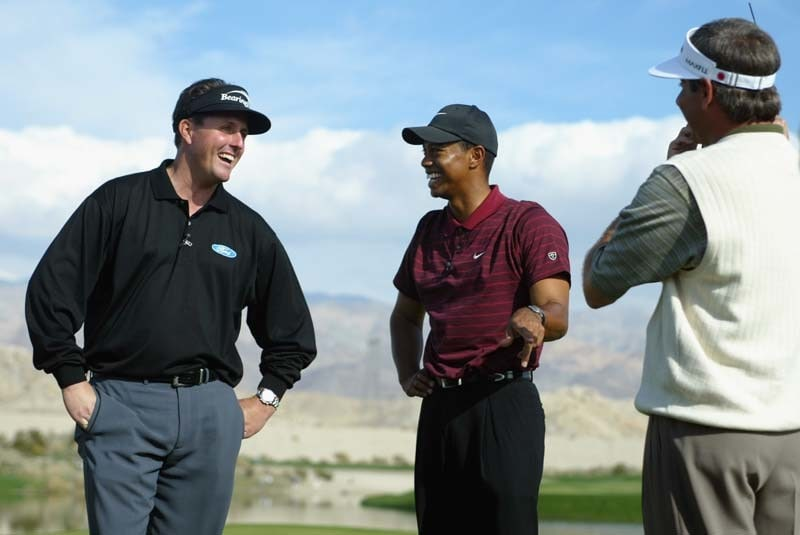 Phil Mickelson, Tiger Woods, Fred Couples, 2002