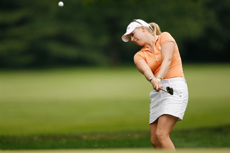 BETHLEHEM, PA - JULY 11:  Morgan Pressel makes a shot from the fairway on the 13th hole during the third round of the 2009 U.S. Women's Open at Saucon Valley Country Club on July 11, 2009 in Bethlehem, Pennsylvania.  (Photo by Chris Graythen/Getty Images)