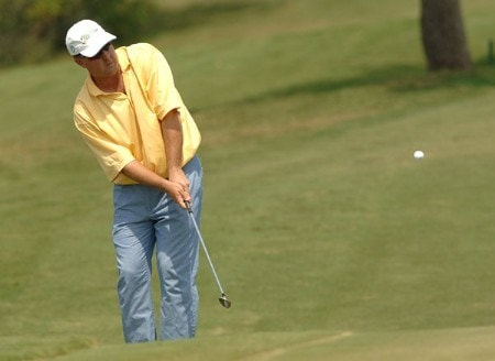 Bob Heintz chips onto the 15th green during the second round of the 2005 Valero Texas Open at La Cantera in at La Cantera Country Club in San Antonio, Texas September 23, 2005.Photo by Steve Grayson/WireImage.com