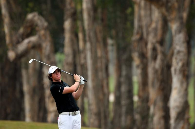 HONG KONG, CHINA - NOVEMBER 23:  Rory McIlroy of Northern Ireland plays his approach shot on the sixth hole during the final round of the UBS Hong Kong Open at the Hong Kong Golf Club on November 23, 2008 in Fanling, Hong Kong.  (Photo by Stuart Franklin/Getty Images)