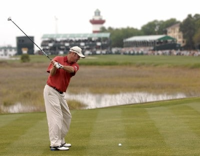 Jerry Kelly hits from the 18th tee during the third round of the 2007 Verizon Heritage Classic at Harbour Town Golf Links in Hilton Head Island on April 14, 2007. PGA TOUR - 2007 Verizon Heritage - Third RoundPhoto by Steve Grayson/WireImage.com