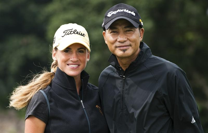 HAIKOU, CHINA - OCTOBER 29:  Hong Kong actor Simon Yam (R) and Spanish golfer Belen Mozo pose on the 12nd green during day three of the Mission Hills Start Trophy tournament at Mission Hills Resort on October 29, 2010 in Haikou, China. The Mission Hills Star Trophy is Asia's leading leisure liflestyle event which features Hollywood celebrities and international golf stars.  (Photo by Victor Fraile/Getty Images for Mission Hills)