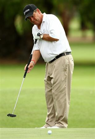PERTH, AUSTRALIA - NOVEMBER 21:  Kevin Spurgeon of England putts on the 1st hole during day three of the 2010 Australian Senior Open at Royal Perth Golf Club on November 21, 2010 in Perth, Australia.  (Photo by Paul Kane/Getty Images)