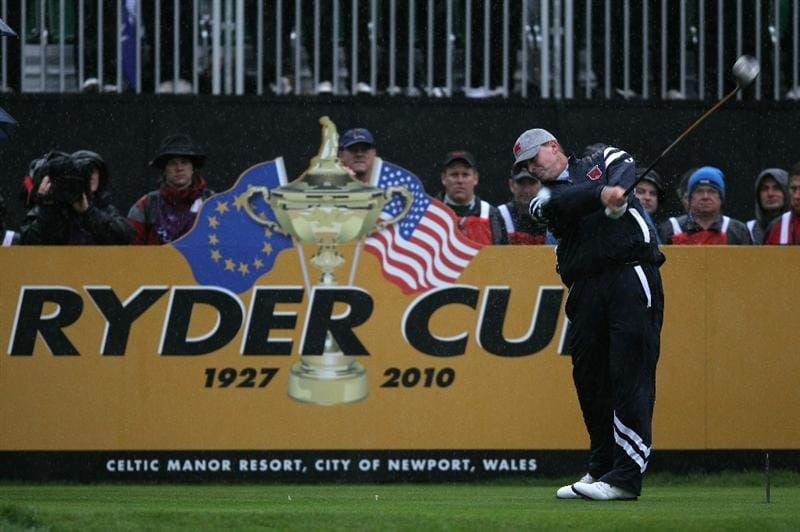 NEWPORT, WALES - OCTOBER 01:  Steve Stricker of the USA tees off during the Morning Fourball Matches during the 2010 Ryder Cup at the Celtic Manor Resort on October 1, 2010 in Newport, Wales.  (Photo by Andy Lyons/Getty Images)