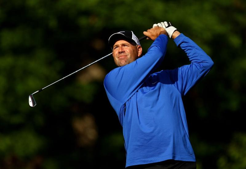 CHARLOTTE, NC - APRIL 29:  Stewart Cink tee's off at the 13th during the first round of the Quail Hollow Championship at Quail Hollow Country Club on April 29, 2010 in Charlotte, North Carolina.  (Photo by Richard Heathcote/Getty Images)