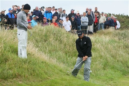 SOUTHPORT, UNITED KINGDOM - JULY 16:  Camilo Villegas of Colombia watches Sergio Garcia of Spain play a shot from the rough during the third practice round of the 137th Open Championship on July 16, 2008 at Royal Birkdale Golf Club, Southport, England.  (Photo by Stuart Franklin/Getty Images)