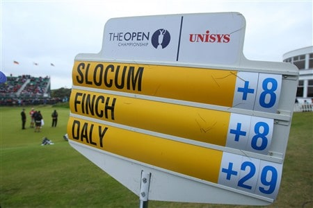 SOUTHPORT, UNITED KINGDOM - JULY 18:  A scoreboard shows the high score of John Daly of USA during the second round of the 137th Open Championship on July 18, 2008 at Royal Birkdale Golf Club, Southport, England.  (Photo by Stuart Franklin/Getty Images)