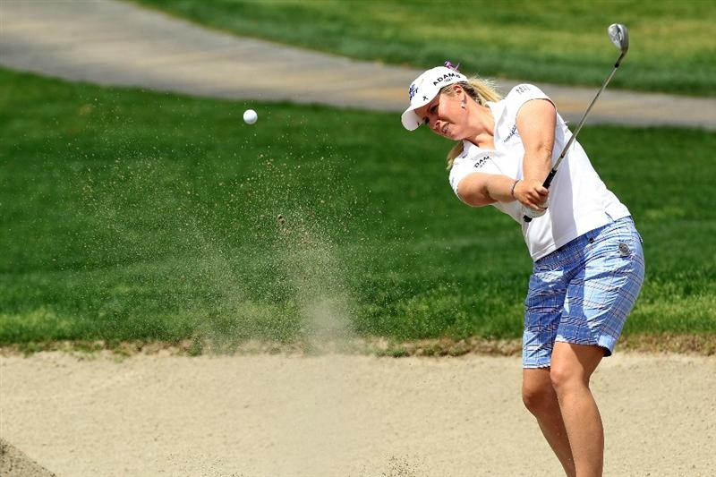 RANCHO MIRAGE, CA - APRIL 02:  Brittany Lincicome of the USA plays her third shot at the par 5, 2nd hole during the third round of the 2011 Kraft Nabisco Championship on the Dinah Shore Championship Course at the Mission Hills Country Club on April 2, 2011 in Rancho Mirage, California.  (Photo by David Cannon/Getty Images)