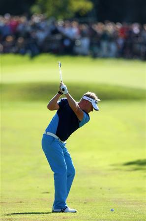 CASTELLO, SPAIN - OCTOBER 26:  Peter Hedblom of Sweden plays his approach shot on the nineth hole during the final round of the Castello Masters Costa Azahar at the Club de Campo del Mediterraneo on October 26, 2008 in Castello, Spain.  (Photo by Stuart Franklin/Getty Images)