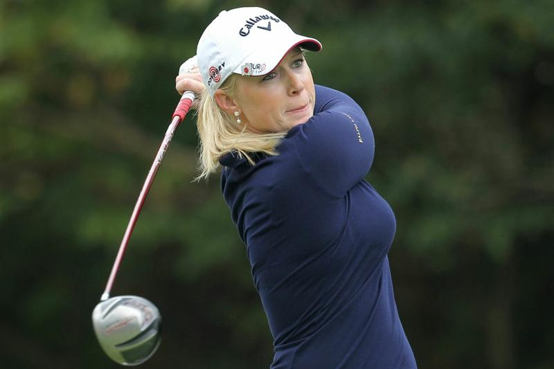 SHIMA, JAPAN - NOVEMBER 07:  Morgan Pressel of the United States plays a tee shot on the 9th hole during the final round of the Mizuno Classic at Kintetsu Kashikojima Country Club on November 7, 2010 in Shima, Mie, Japan.  (Photo by Kiyoshi Ota/Getty Images)