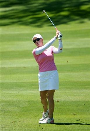 GLADSTONE, NJ - MAY 20 : Morgan Pressel watches her third shot on the 18th hole during the first round of the Sybase Match Play Championship at Hamilton Farm Golf Club on May 20, 2010 in Gladstone, New Jersey. (Photo by Hunter Martin/Getty Images)