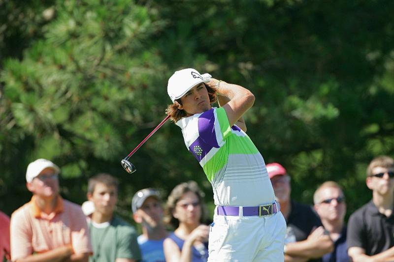 CROMWELL, CT - JUNE 25:   Rickie Fowler hits a shot during the second round of the Travelers Championship held at TPC River Highlands on June 25, 2010 in Cromwell, Connecticut.  (Photo by Michael Cohen/Getty Images)