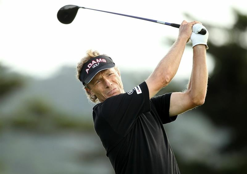 SAN FRANCISCO - NOVEMBER 05:  Bernhard Langer of Germany tees off on the 14th hole during round 2 of the Charles Schwab Cup Championship at Harding Park Golf Course on November 5, 2010 in San Francisco, California.  (Photo by Ezra Shaw/Getty Images)