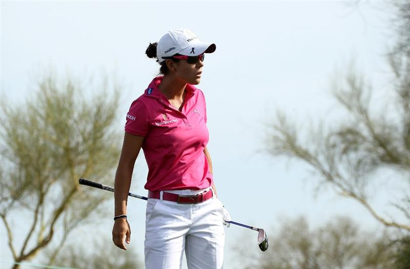 PHOENIX, AZ - MARCH 18:  Dewi Claire Schreefel of the Netherlands watches her tee shot on the sixth hole during the first round of the RR Donnelley LPGA Founders Cup at Wildfire Golf Club on March 18, 2011 in Phoenix, Arizona.  (Photo by Stephen Dunn/Getty Images)