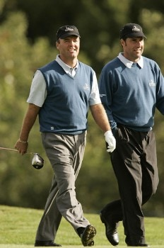 Thomas Levet and Jose Maria Olazabal walk up the fairwayduring the third round of the 2005 Seve Trophy at the Wynyard Club's Wellington Course, Sept. 24, 2005Photo by Pete Fontaine/WireImage.com