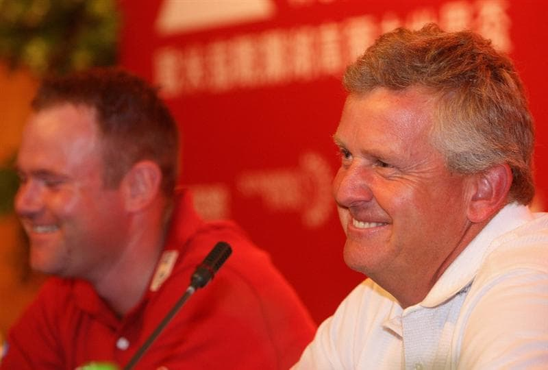 SHENZHEN, CHINA - NOVEMBER 26:  Alastair Forsyth and Colin Montgomerie of Scotland during the press conference at the Omega Mission Hills World Cup at the Mission Hills Resort on November 26, 2008 in Shenzhen, China.  (Photo by Stuart Franklin/Getty Images)