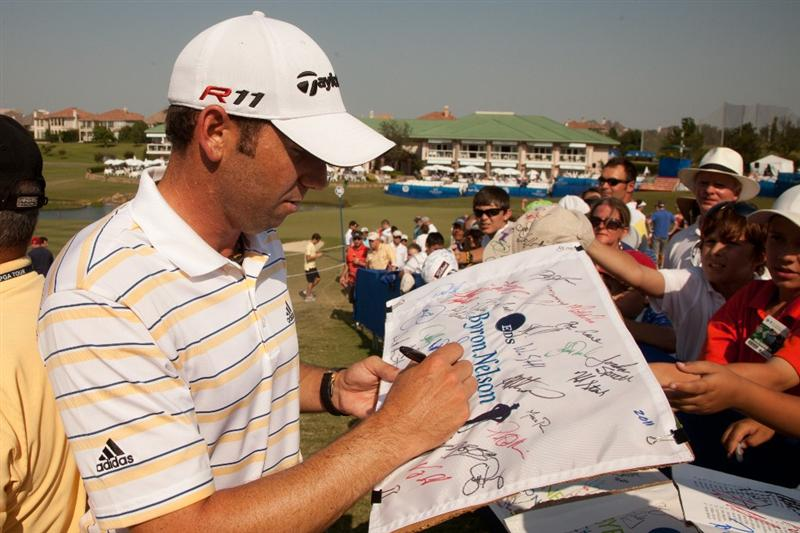 IRVING, TX - MAY 28: Sergio Garcia of Spain signs autographs following the third round of the HP Byron Nelson Championship at TPC Four Seasons at Las Colinas on May 28, 2011 in Irving, Texas. (Photo by Darren Carroll/Getty Images)