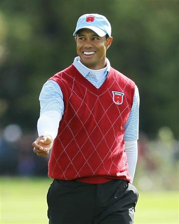 NEWPORT, WALES - OCTOBER 03:  Tiger Woods of the USA smiles during the  Fourball & Foursome Matches during the 2010 Ryder Cup at the Celtic Manor Resort on October 3, 2010 in Newport, Wales. (Photo by Andy Lyons/Getty Images)