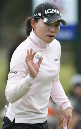 SHIMA, JAPAN - NOVEMBER 07:  Eun-A Lim of South Korea waves her ball to the crowd on the 17th hole during the first round of 2008 Mizuno Classic at Kintetsu Kashikojima Country Club on November 7, 2008 in Shima, Mie, Japan.  (Photo by Koichi Kamoshida/Getty Images)