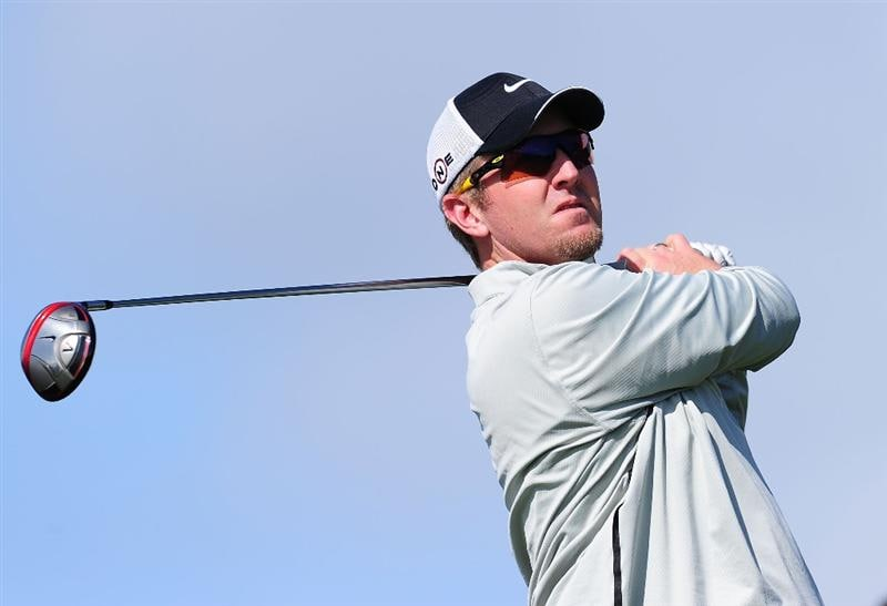 PEBBLE BEACH, CA - FEBRUARY 12:  David Duval plays a shot on the nineth hole during round two of the AT&T Pebble Beach National Pro-Am at Pebble Beach Golf Links on February 12, 2010 in Pebble Beach, California.  (Photo by Stuart Franklin/Getty Images)