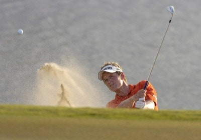 Luke Donald hits out of a bunker at the 17th green during the final round of The Honda Classic held on the Sunshine Course at Country Club at Mirasol in Palm Beach Gardens, Florida, on March 12, 2006.Photo by Al Messerschmidt/WireImage.com