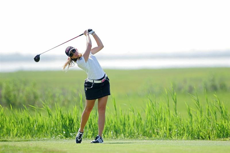GALLOWAY, NJ - JUNE 18:  Paula Creamer watches her drive during the second round of the ShopRite LPGA Classic held at Dolce Seaview Resort (Bay Course) on June 18, 2010 in Galloway, New Jersey.  (Photo by Michael Cohen/Getty Images)