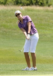 Jill McGill chips into the 13th hole during a practice round  at Newport Country Club, site of the 2006 U. S. Women's Open in Newport, Rhode Island, June 26. 2006  Recent rains flooded sections of the course, closing the course to the public during the Monday practice rounds.Photo by Al Messerschmidt/WireImage.com