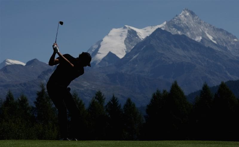 CRANS, SWITZERLAND - SEPTEMBER 06:  Maarten Lafeber of The Netherlands his second shot on the 12th hole during the final round of The Omega European Masters at Crans-Sur-Sierre Golf Club on September 6, 2009 in Crans Montana, Switzerland.  (Photo by Andrew Redington/Getty Images)