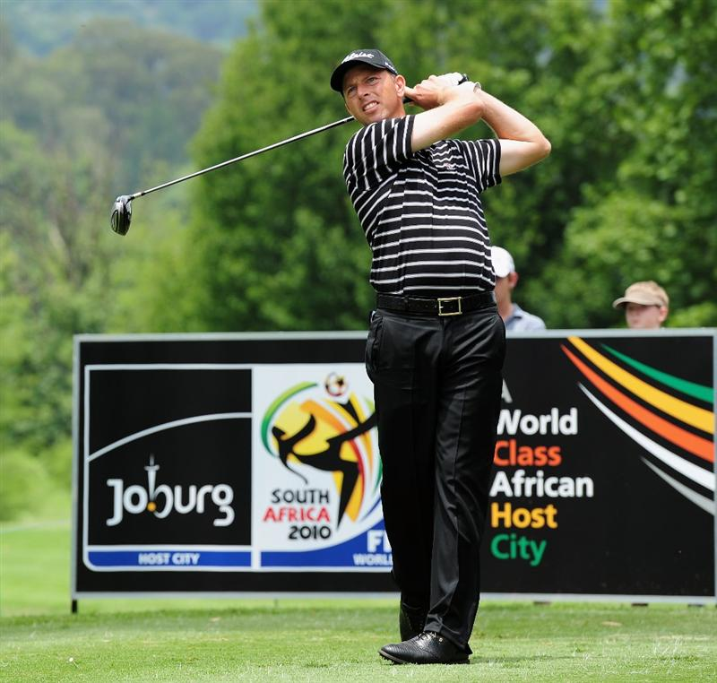 JOHANNESBURG, SOUTH AFRICA - JANUARY 14:  Soren Hansen of Denmark plays his tee shot during the first round of the Joburg Open at Royal Johannesburg and Kensington Golf Club on January 14, 2010 in Johannesburg, South Africa.  (Photo by Stuart Franklin/Getty Images)