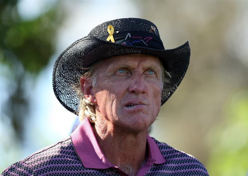 PERTH, AUSTRALIA - FEBRUARY 20:  Greg Norman of Australia looks pensive on the 17th tee on the way to missing the cut during the second round of the 2009 Johnnie Walker Classic tournament at the Vines Resort and Country Club, on February 20, 2009, in Perth, Australia  (Photo by David Cannon/Getty Images)