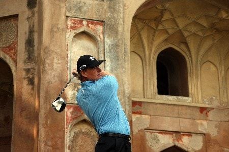 DELHI, INDIA - FEBRUARY 06:  Ernie Els of South Africa plays his tee shot at the 14th hole during the Pro-Am for the Emaar-MGF Indain Masters at the Delhi Golf Club, on February 6, 2008 in Delhi, India.  (Photo by David Cannon/Getty Images)