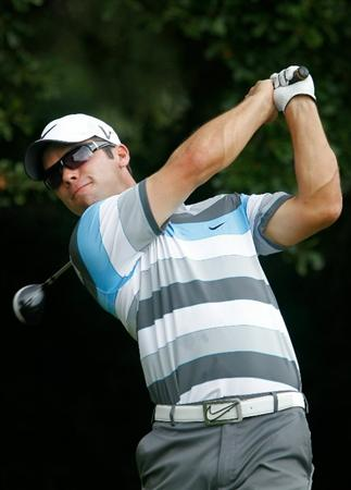 ATLANTA - SEPTEMBER 24:  Paul Casey of England hits his tee shot on the third hole during the second round of THE TOUR Championship presented by Coca-Cola at East Lake Golf Club on September 24, 2010 in Atlanta, Georgia.  (Photo by Scott Halleran/Getty Images)