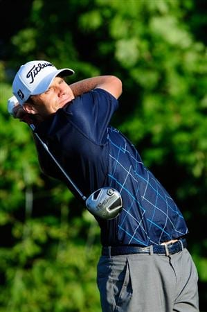CHASKA, MN - AUGUST 13:  Nick Watney watches his tee shot on the tenth hole during the first round of the 91st PGA Championship at Hazeltine National Golf Club on August 13, 2009 in Chaska, Minnesota.  (Photo by Sam Greenwood/Getty Images)