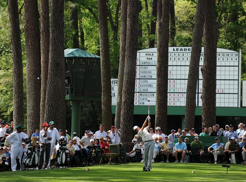 AUGUSTA, GA - APRIL 11:  Sean O'Hair hits his tee shot on the 17th hole during the third round of the 2009 Masters Tournament at Augusta National Golf Club on April 11, 2009 in Augusta, Georgia.  (Photo by Harry How/Getty Images)