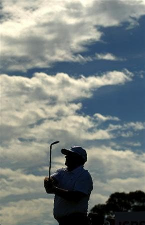 PERTH, AUSTRALIA - NOVEMBER 19:  Peter Senior of Australia watches his tee shot on the 14th hole during day one the 2010 Australian Senior Open at Royal Perth Golf Club on November 19, 2010 in Perth, Australia.  (Photo by Paul Kane/Getty Images)