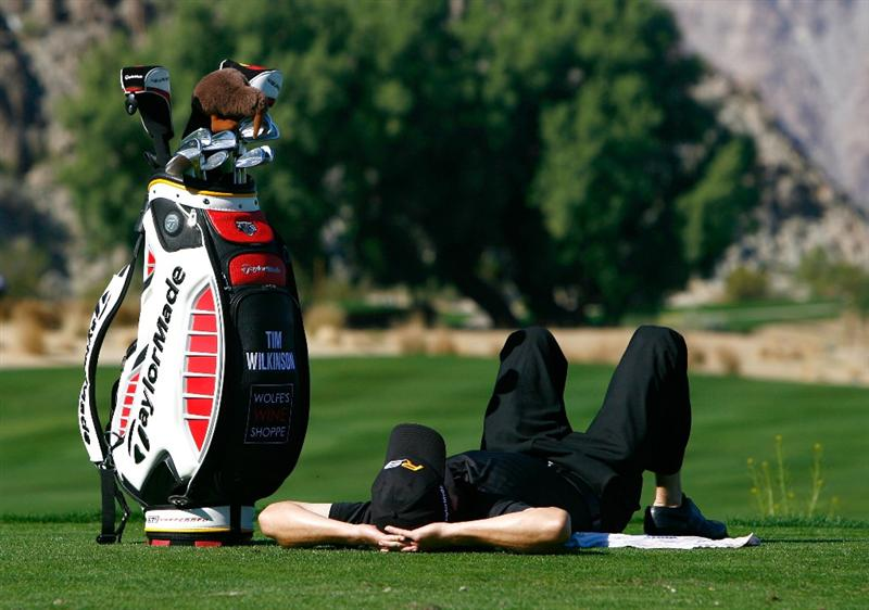 LA QUINTA, CA - JANUARY 24:  Tim Wilkinson of New Zealand relaxes before hitting a tee shot on the eighth hole during the fourth round of the Bob Hope Chrysler Classic at the Silver Rock Resort on January 24, 2009 in La Quinta, California.  (Photo by Jeff Gross/Getty Images)