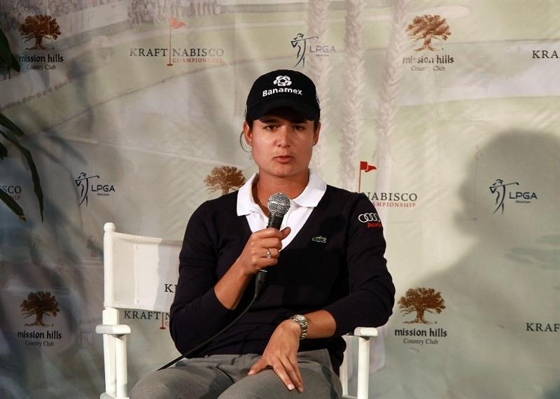 RANCHO MIRAGE, CA - MARCH 31:  Lorena Ochoa of Mexico at her media interview after the pro-am as a preview for the 2010 Kraft Nabisco Championship, on the Dinah Shore Course at The Mission Hills Country Club, on March 31, 2010 in Rancho Mirage, California.  (Photo by David Cannon/Getty Images)