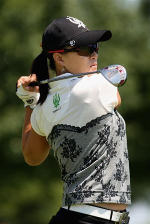 SPRINGFIELD, IL - JUNE 05:  Se Ri Pak of South Korea  hits a tee shot on the fourth hole during the second round of the LPGA State Farm Classic golf tournament at Panther Creek Country Club on June 5, 2009 in Springfield, Illinois.  (Photo by Christian Petersen/Getty Images)
