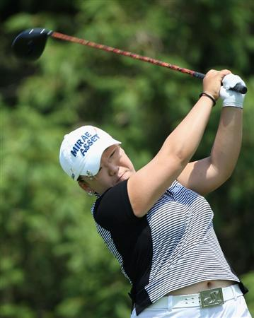 SPRINGFIELD, IL - JUNE 04:  Jiyai Shin of South Korea hits a tee shot on the 16th hole during the first round of the LPGA State Farm Classic golf tournament at Panther Creek Country Club on June 4, 2009 in Springfield, Illinois.  (Photo by Christian Petersen/Getty Images)