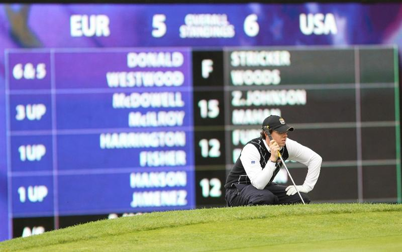 NEWPORT, WALES - OCTOBER 03:  Rory McIlroy of Europe celebrates lines up a putt on the 16th green during the Fourball & Foursome Matches during the 2010 Ryder Cup at the Celtic Manor Resort on October 3, 2010 in Newport, Wales.  (Photo by Jamie Squire/Getty Images)