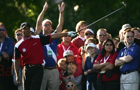ORLANDO, FL - MARCH 24:  Tiger Woods of the USA and member of the Isleworth team reacts to a poor tee shot on the 18th hole during the first day of the Travistock Cup at Isleworth Golf and Country Club on March 24, 2008 in Orlando, Florida.  (Photo by Warren Little/Getty Images)
